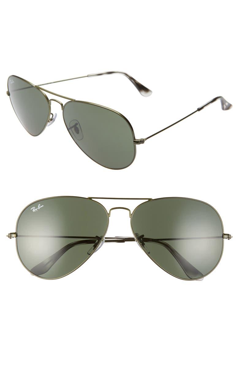 RAY-BAN 62mm Aviator Sunglasses, Main, color, SAND TRANSPARENT GREEN