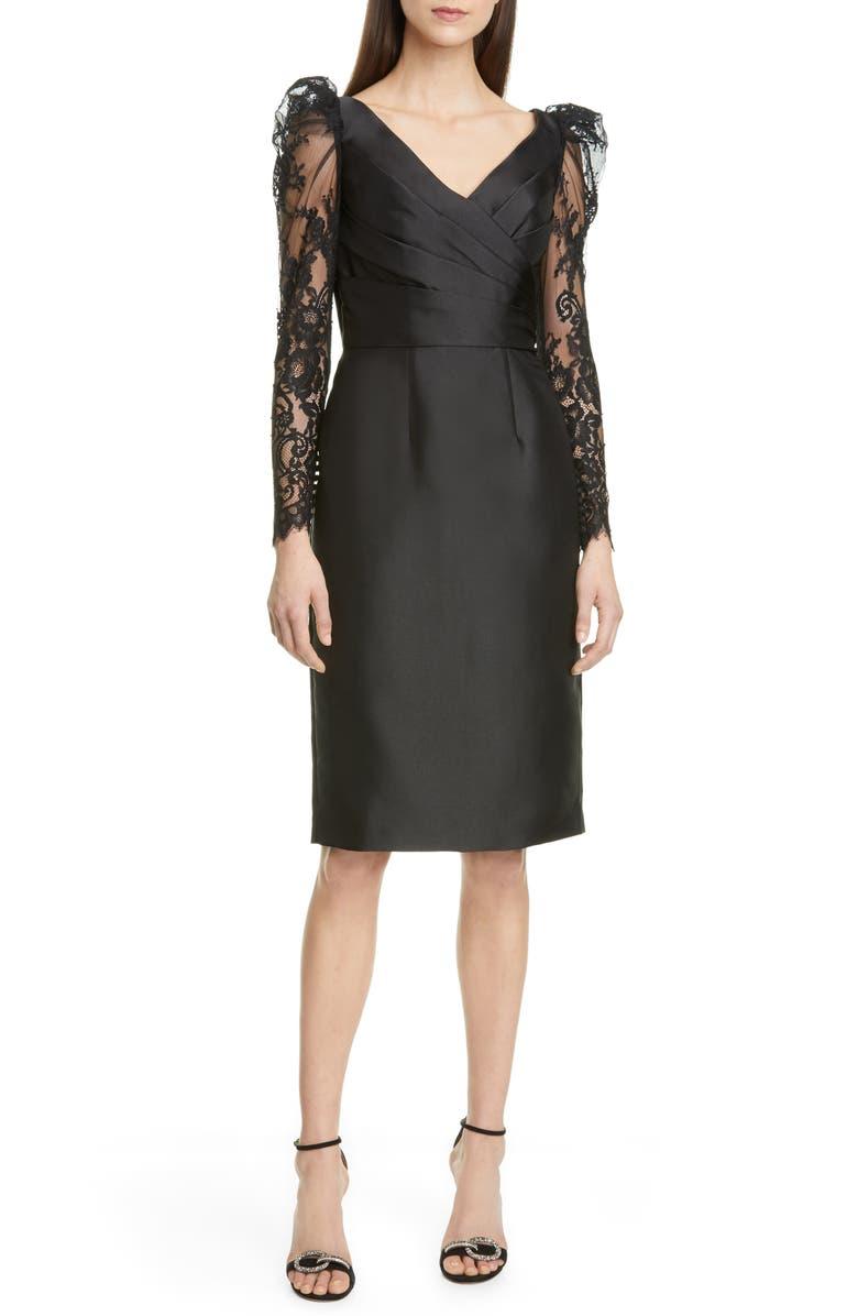 PRONOVIAS Lace Long Sleeve Mikado Cocktail Dress, Main, color, BLACK / GOLD