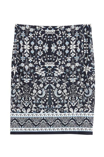 Image of Max Studio Lightweight Knit Print Pencil Skirt