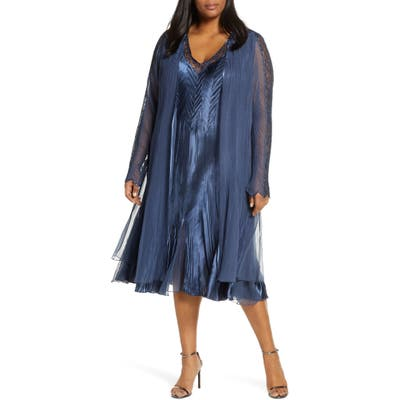 Plus Size Komarov Lace Inset Charmeuse Dress With Long Jacket, Blue