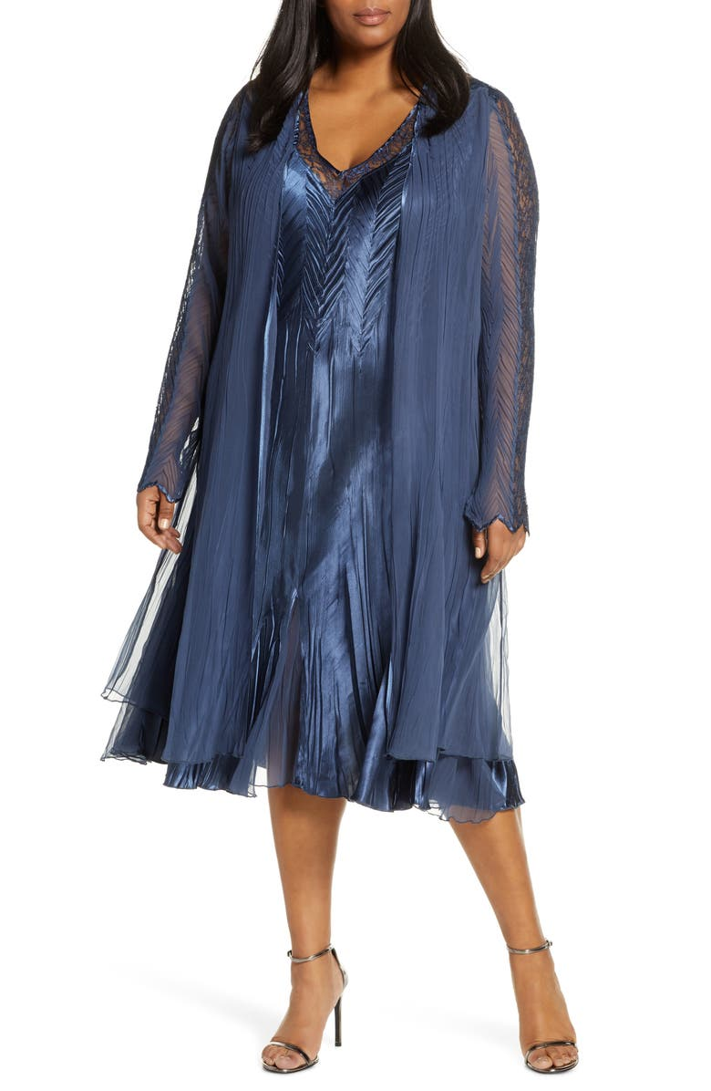 KOMAROV Lace Inset Charmeuse Dress with Long Jacket, Main, color, ECLIPSE