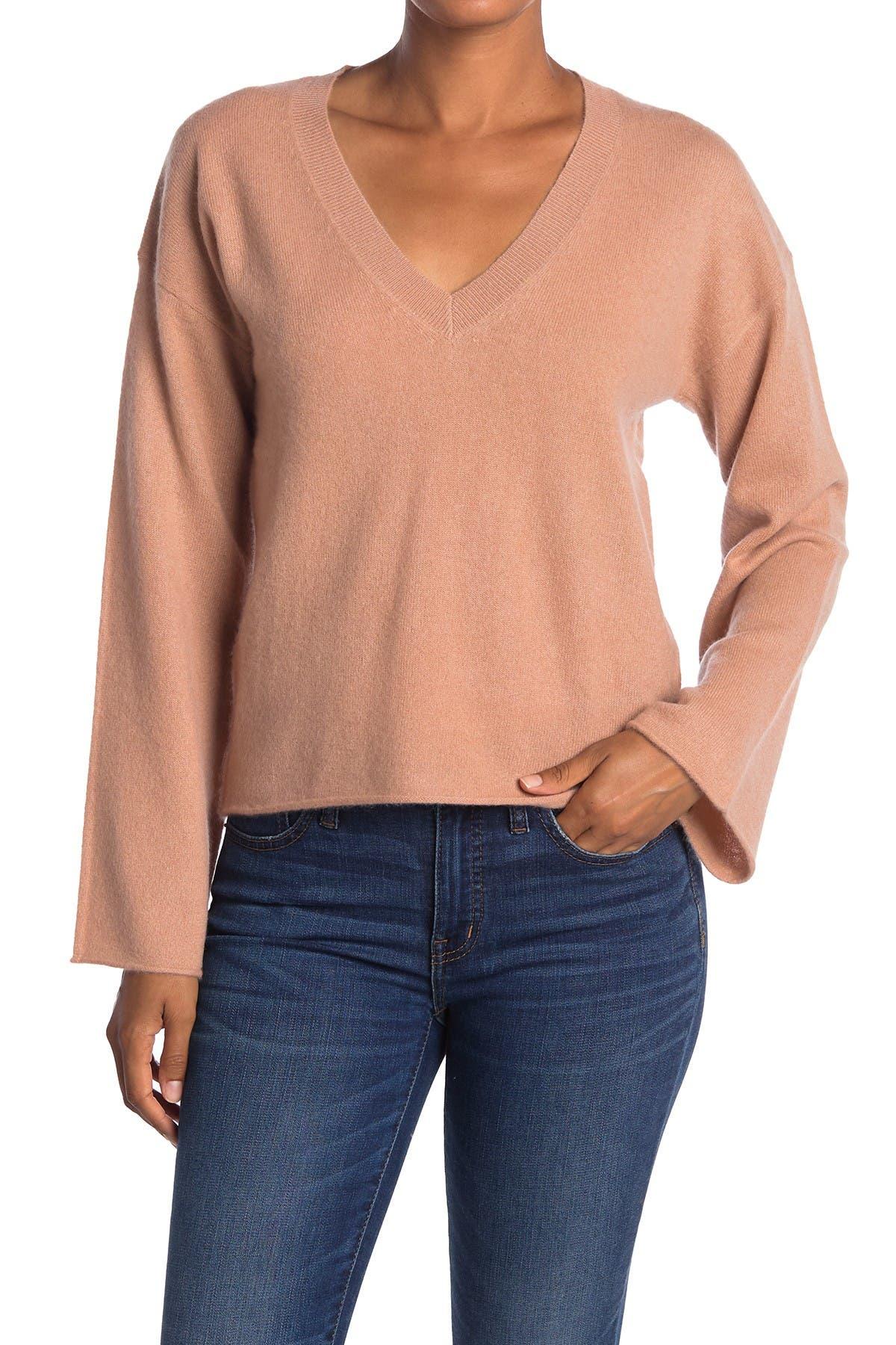Image of 360 Cashmere Phoebe V-Neck Bell Sleeve Cashmere Sweater