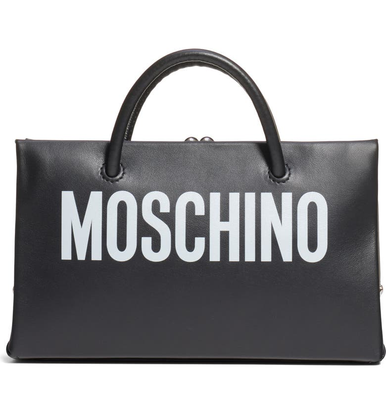 MOSCHINO Small Calfskin Leather Shopper Clutch, Main, color, FANTASY PRINT BLACK