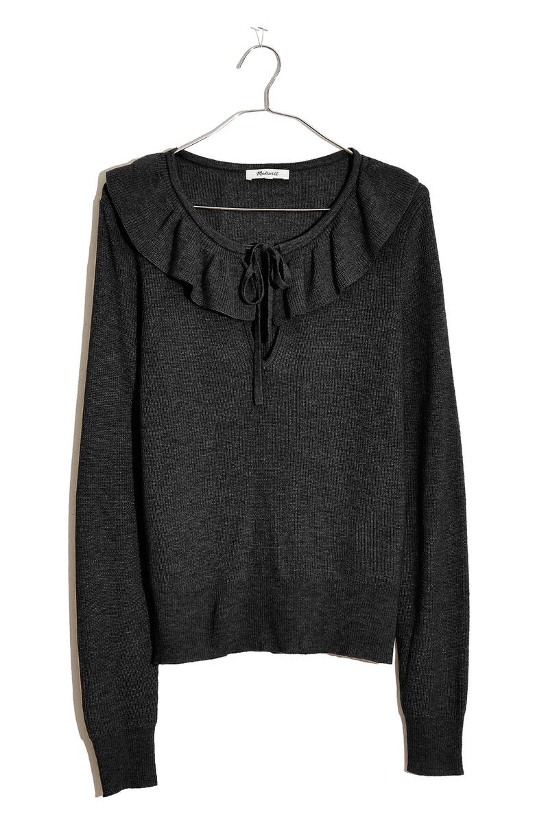 MADEWELL Tie Neck Ruffle Pullover Sweater, Main, color, TRUE BLACK