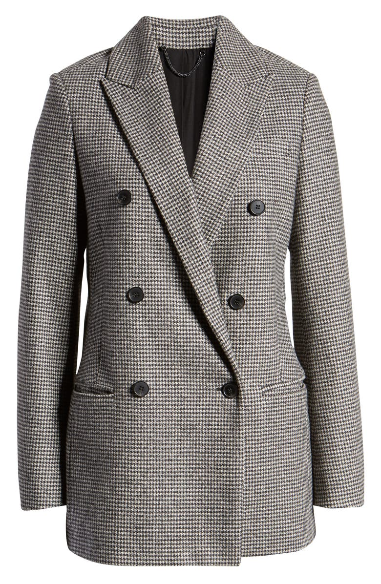 ALLSAINTS Astrid Puppytooth Check Double Breasted Wool Blend Blazer, Alternate, color, BLACK/ WHITE