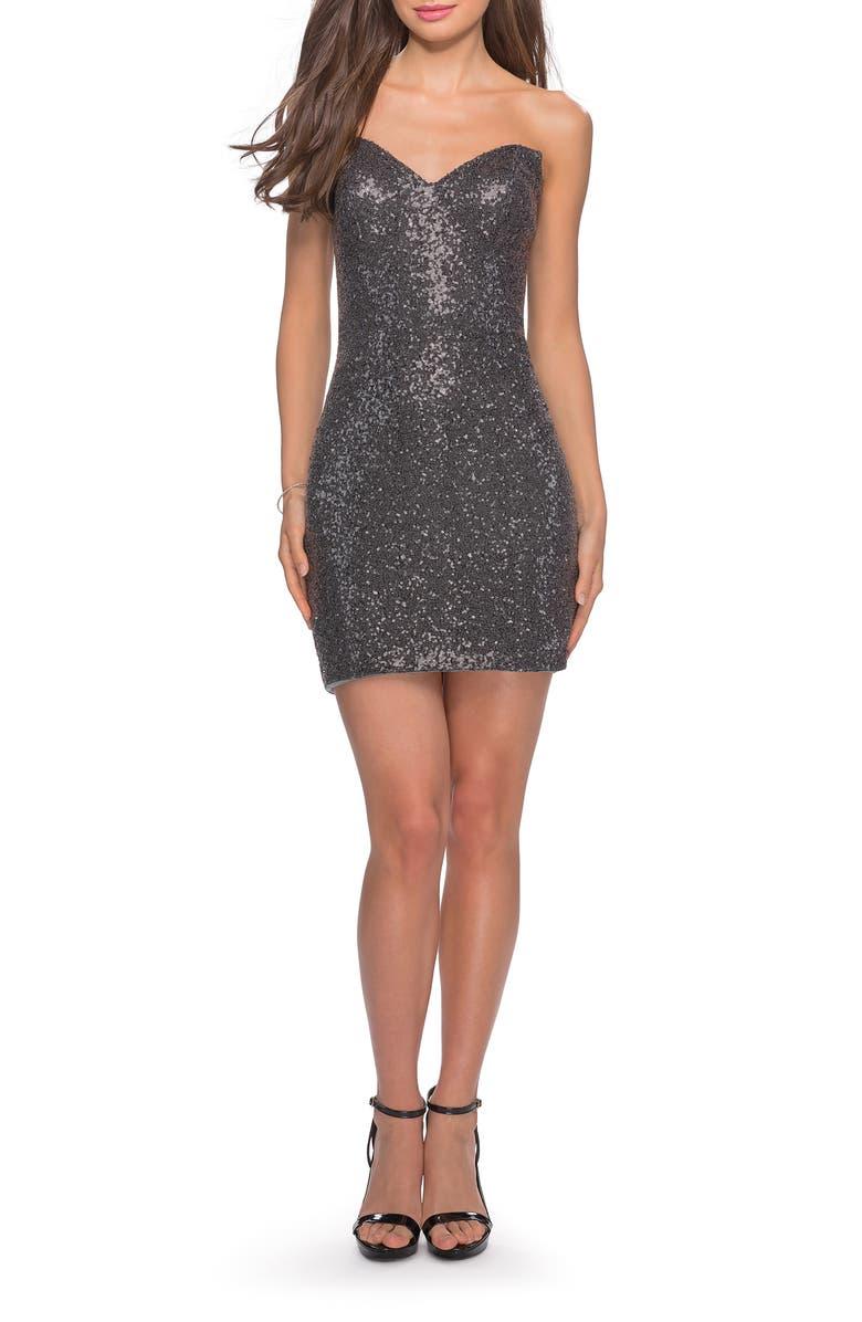 LA FEMME Sequin Body-Con Minidress, Main, color, GUNMETAL