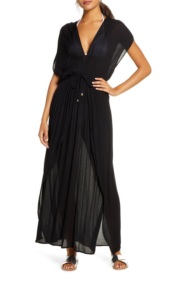 ELAN Wrap Maxi Cover-Up Dress, Main, color, BLACK