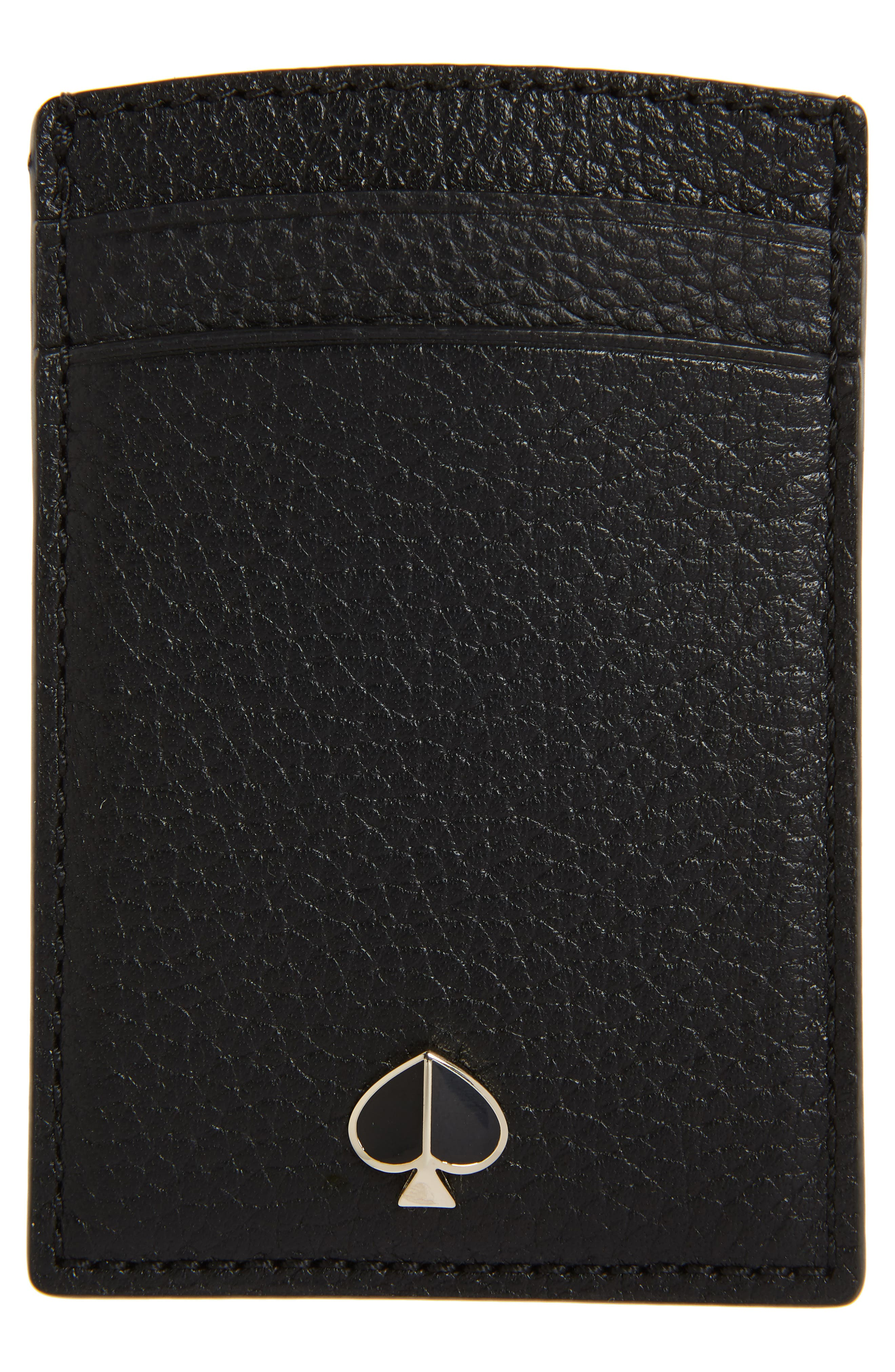 polly leather card case, Main, color, BLACK