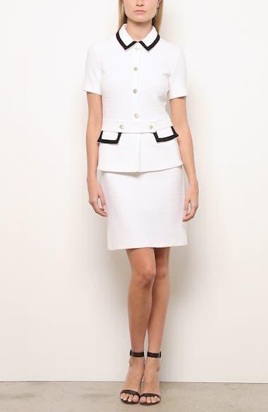 Luxury Bouclé Knit Collared Sheath Dress, video thumbnail