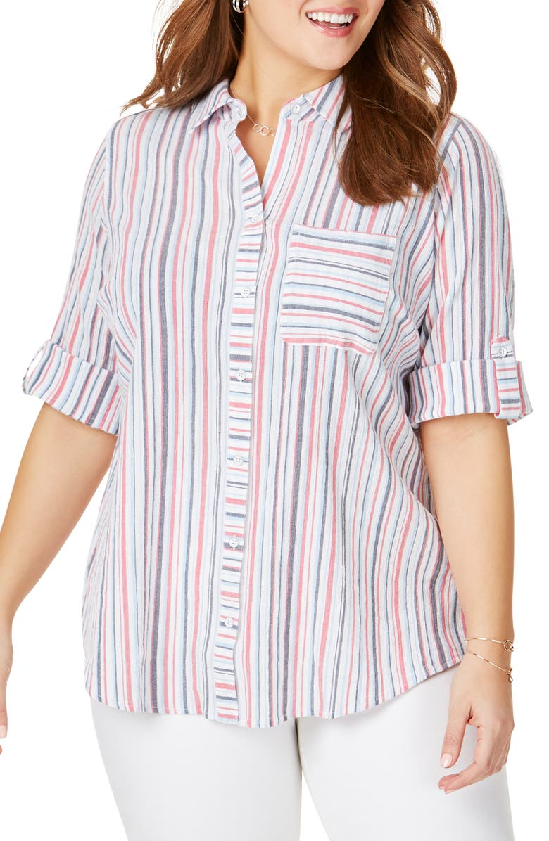 FOXCROFT Zen Stripe Crinkle Cotton Shirt, Main, color, 410