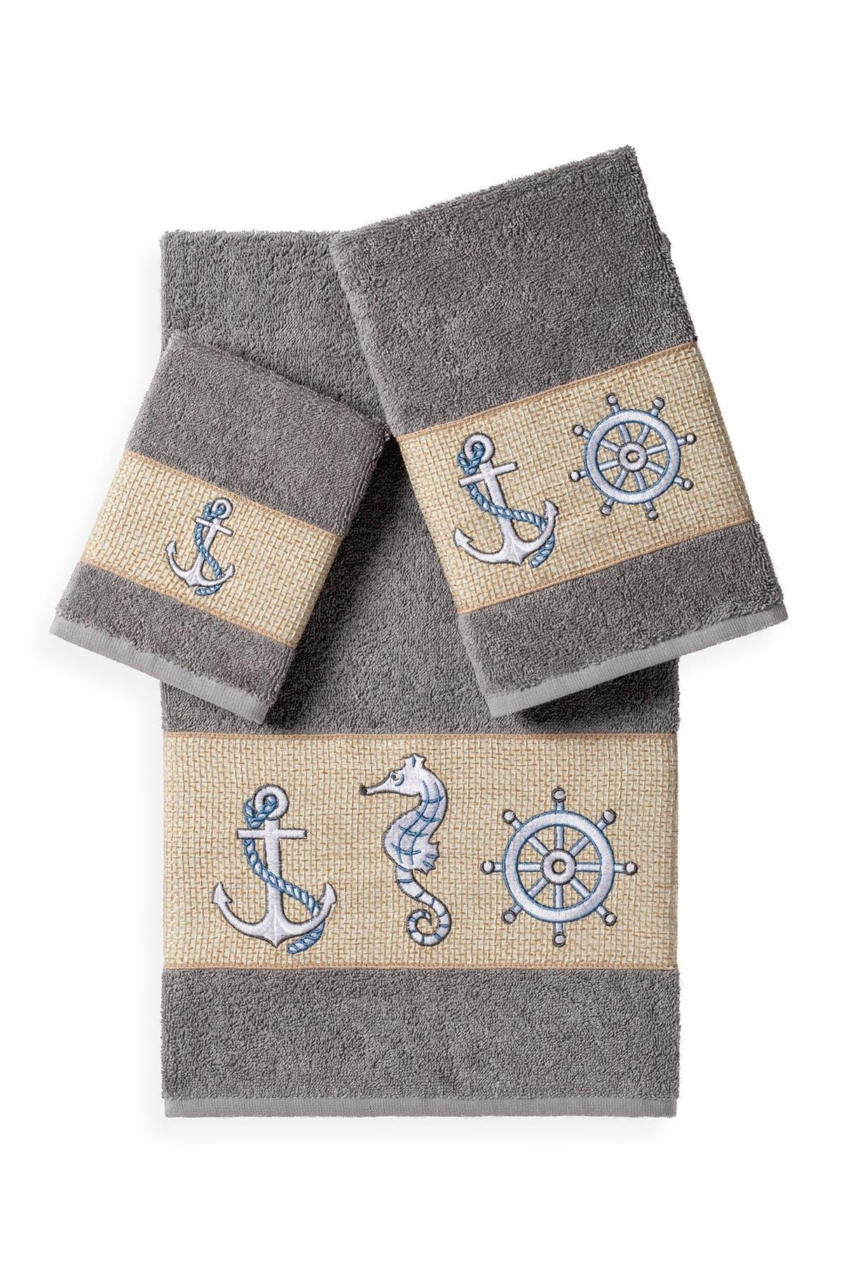Image of LINUM TOWELS Easton 3-Piece Embellished Towel Set - Dark Grey