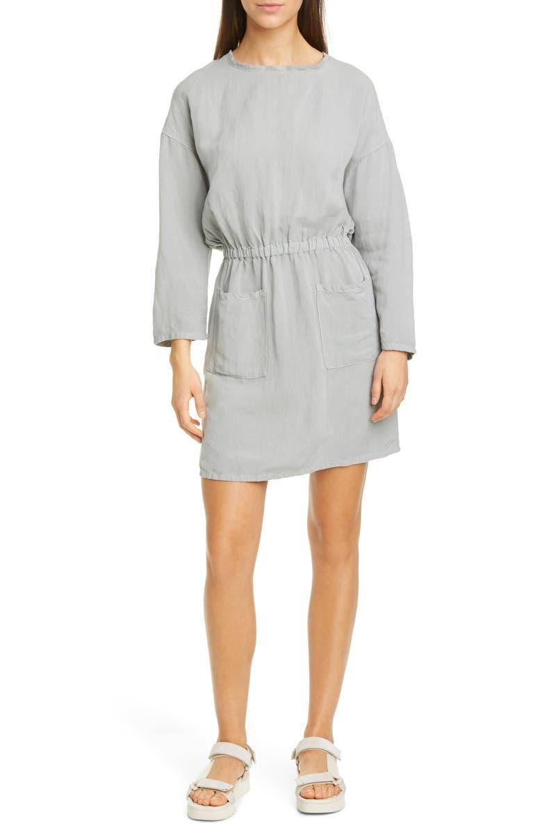 NSF CLOTHING Lulyisa Long Sleeve Linen Blend Minidress, Main, color, PALE GREY
