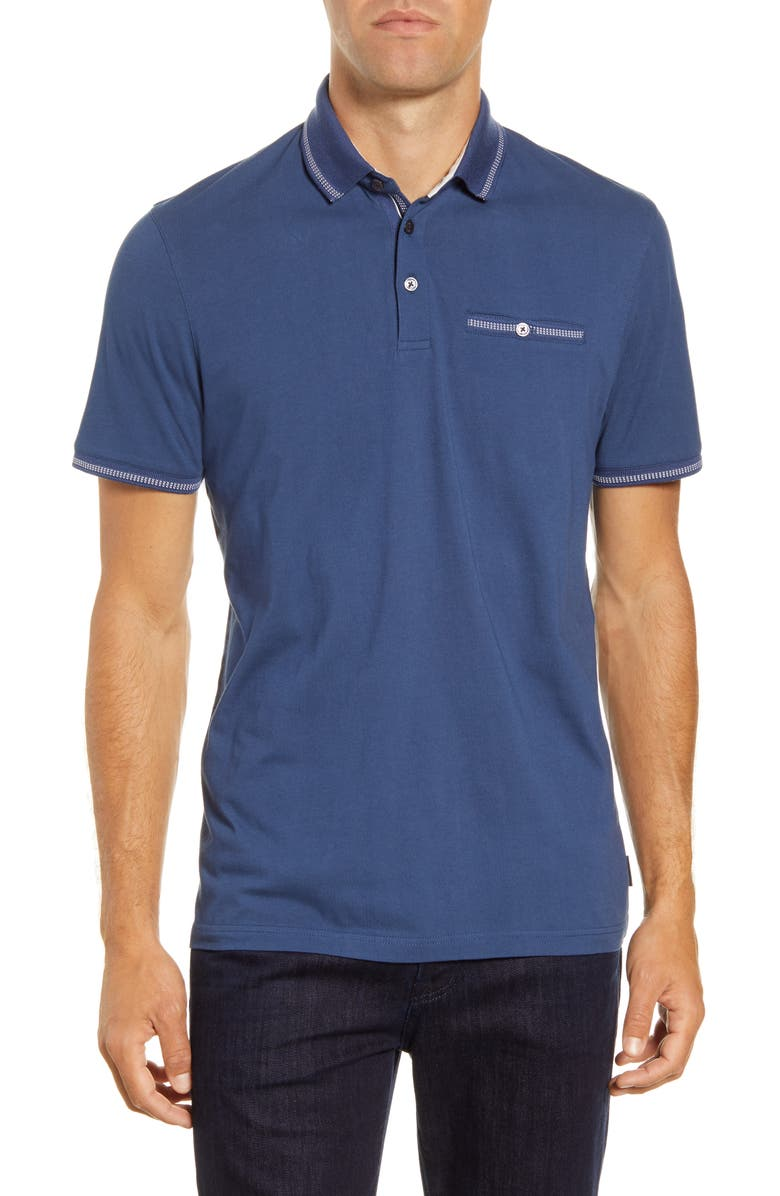 TED BAKER LONDON Tortila Slim Fit Tipped Pocket Polo, Main, color, MID-BLUE