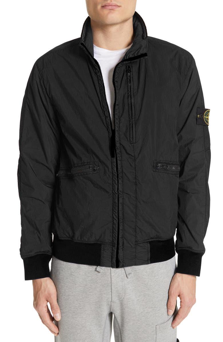 STONE ISLAND Crinkled Nylon Jacket, Main, color, 001
