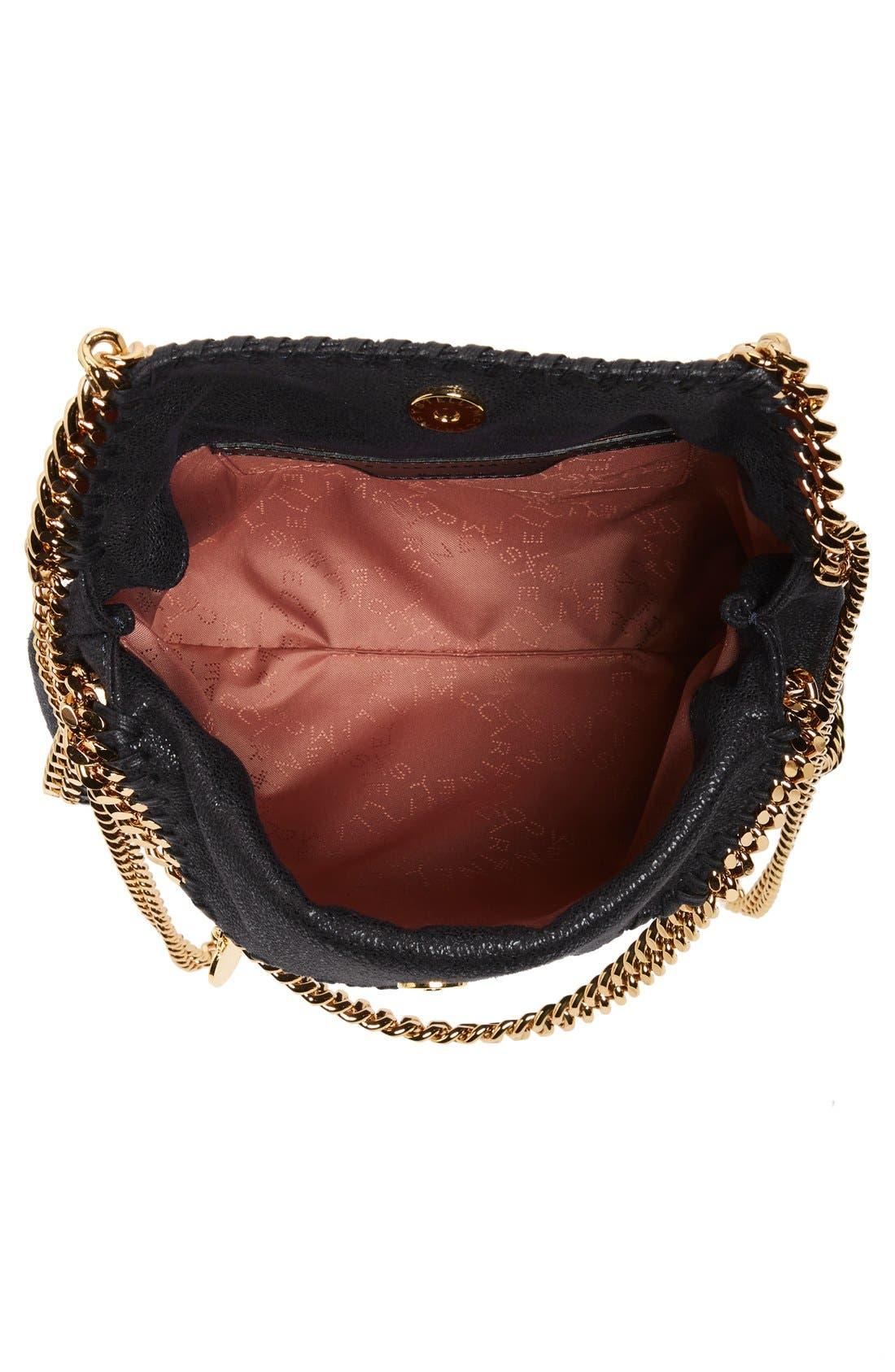 ,                             'Mini Falabella - Shaggy Deer' Faux Leather Tote,                             Alternate thumbnail 3, color,                             BLACK W/ GOLD