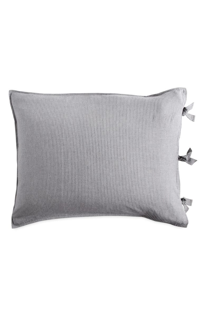 DKNY PURE Stripe Pillow Sham, Main, color, GREY