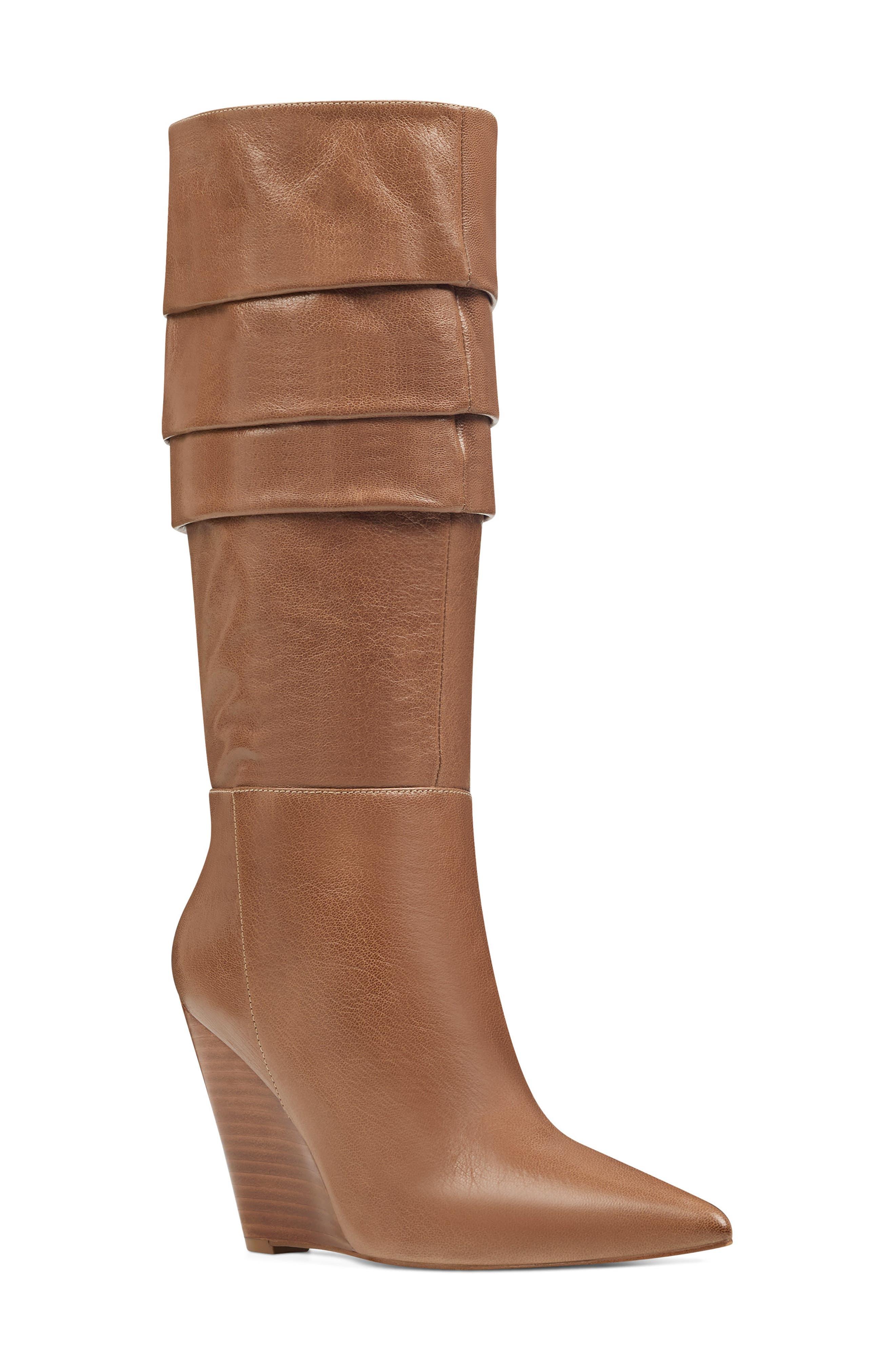 Nine West Vernese Tiered Knee High Wedge Boot- Brown