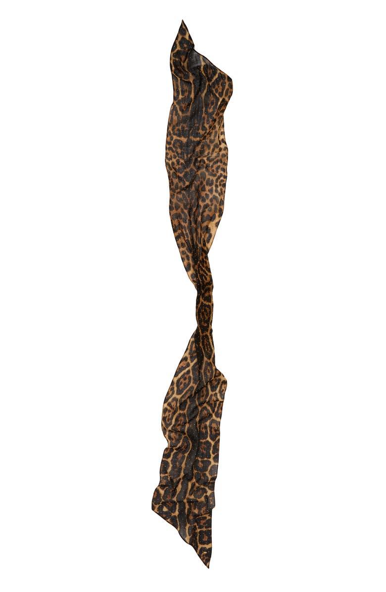 SAINT LAURENT Lavarille Studded Leopard Print Wool Scarf, Main, color, BEIGE/ BLACK