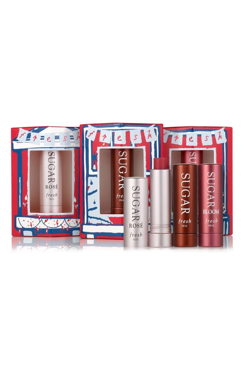 FRESH<SUP>®</SUP> Three's A Charm Travel Size Sugar Lip Treatment SPF 15 Set, Main, color, NO COLOR