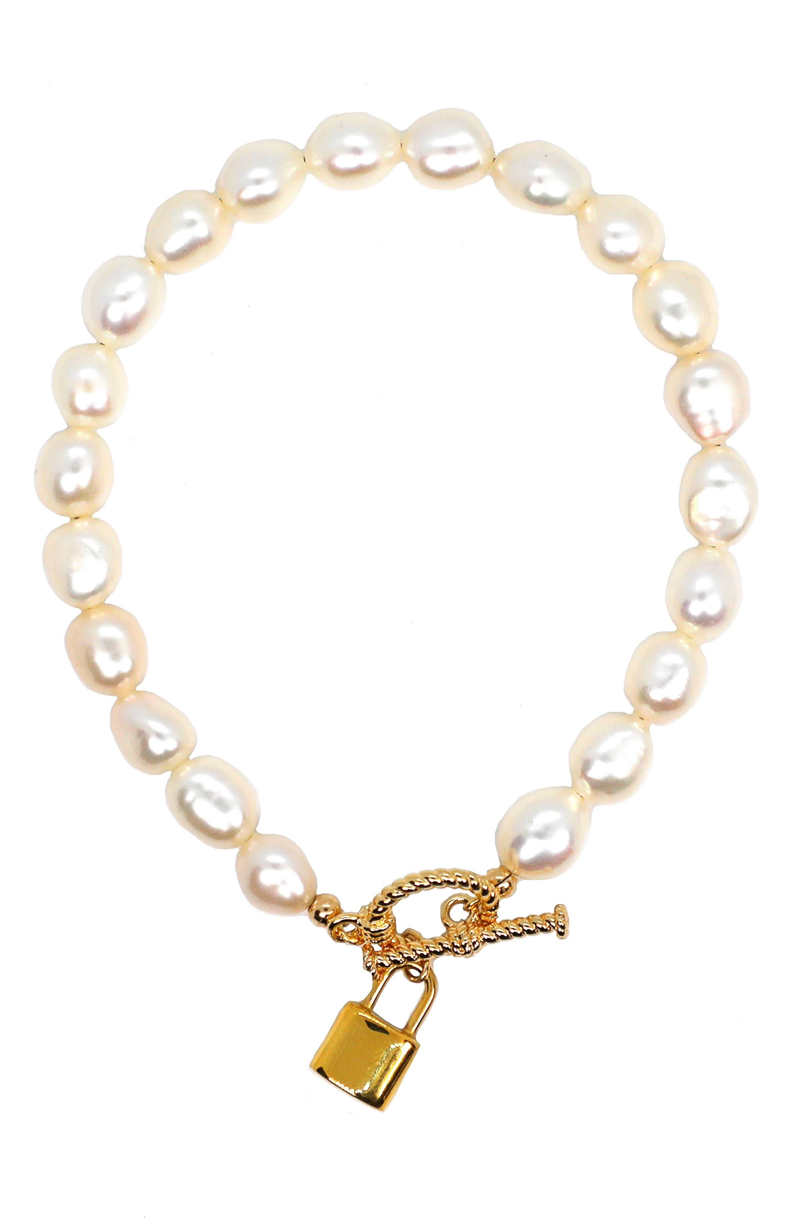 Lock It Up Baroque Freshwater Pearl Bracelet