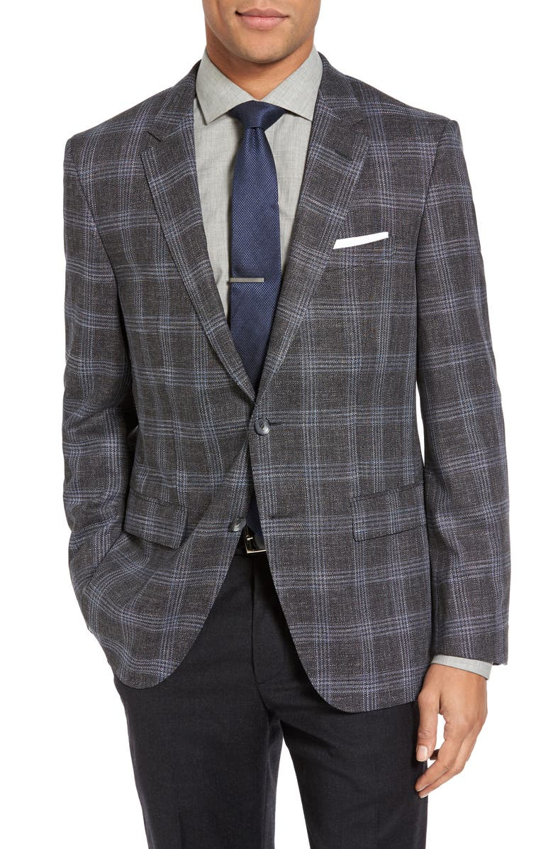 ZZDNUHUGO BOSS BOSS T-Heel Trim Fit Plaid Sport Coat, Main, color, 021