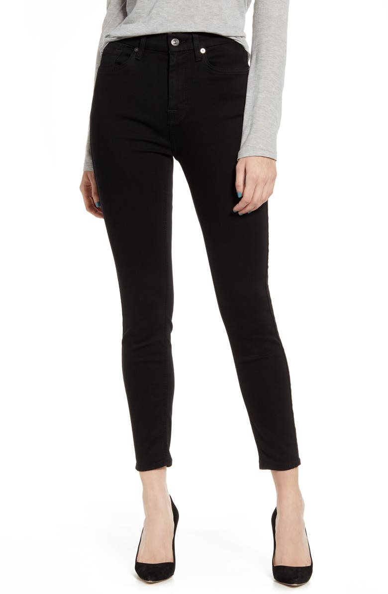 7 FOR ALL MANKIND<SUP>®</SUP> High Waist Ankle Skinny Jeans, Main, color, BAIRBLACK
