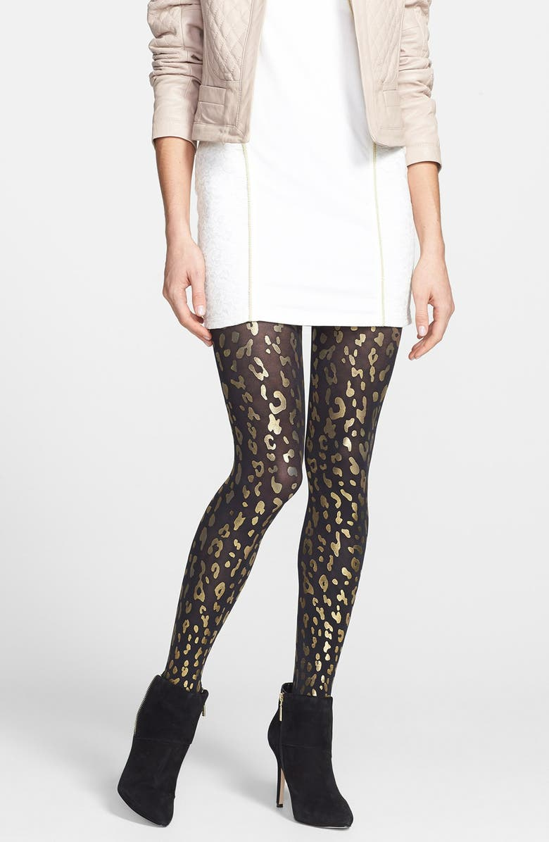 HUE 'Leopard' Metallic Foil Tights, Main, color, 001