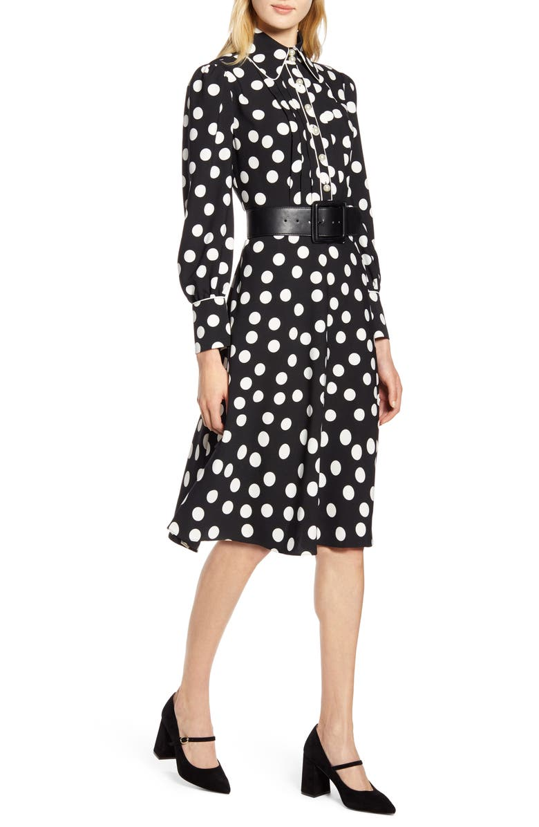 HALOGEN<SUP>®</SUP> x Atlantic-Pacific Button & Pleat Polka Dot Fit & Flare Dress, Main, color, BLACK- IVORY DOTTY PRINT