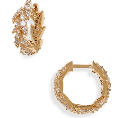Nadri Liv Leaf Huggie Hoop Earrings