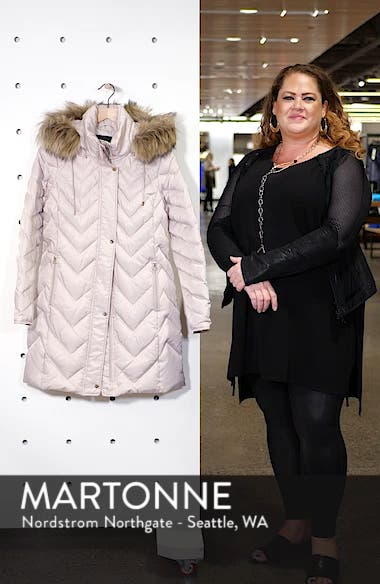 Matte Satin Chevron Faux Fur Trim Coat, sales video thumbnail