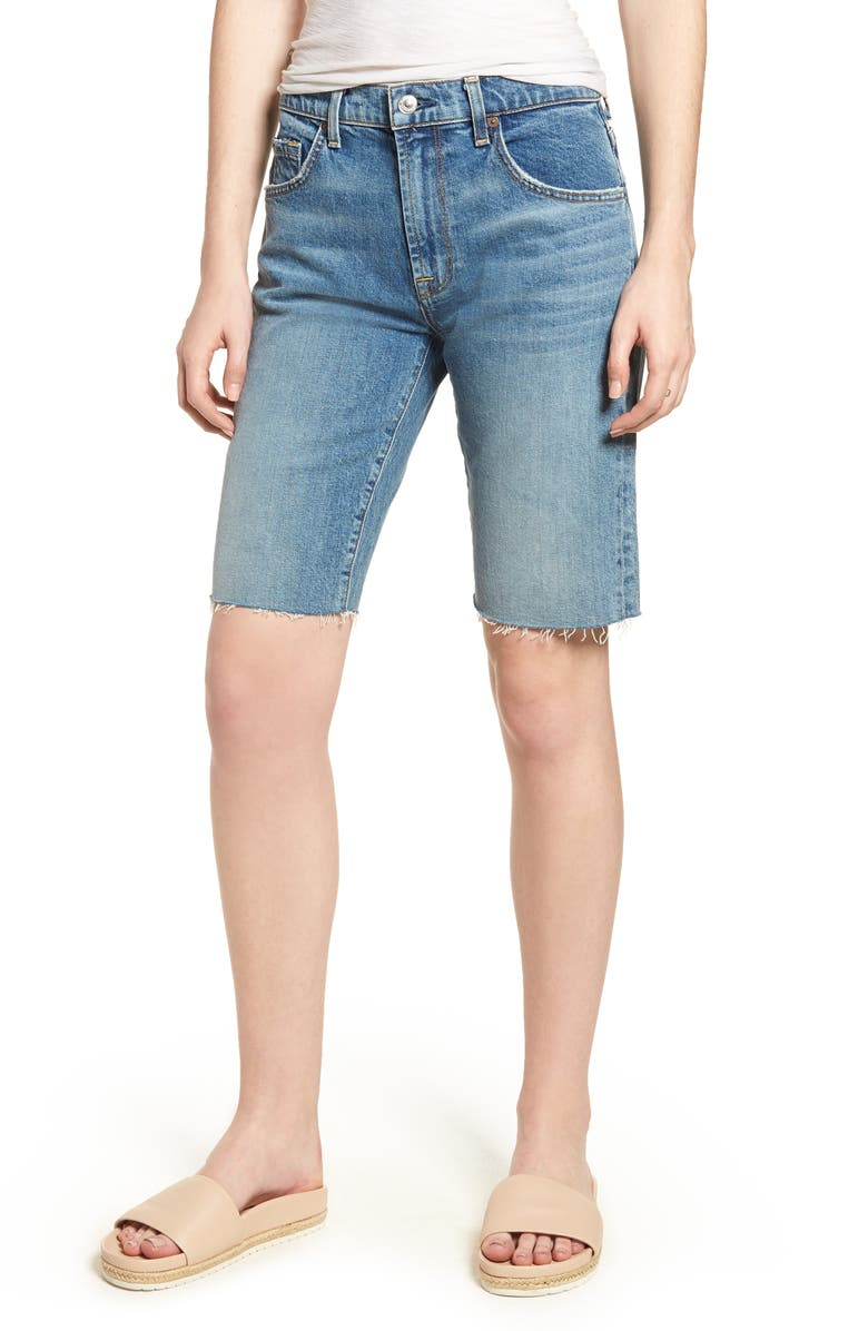 7 FOR ALL MANKIND<SUP>®</SUP> High Waist Denim Bermuda Shorts, Main, color, 402