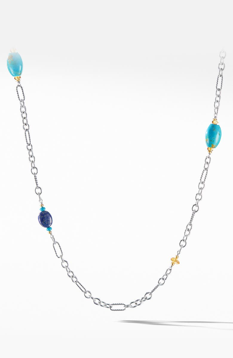 DAVID YURMAN Signature Bead and Chain Necklace with Turquoise and 18K Yellow Gold, Main, color, LAPIS LAZULI