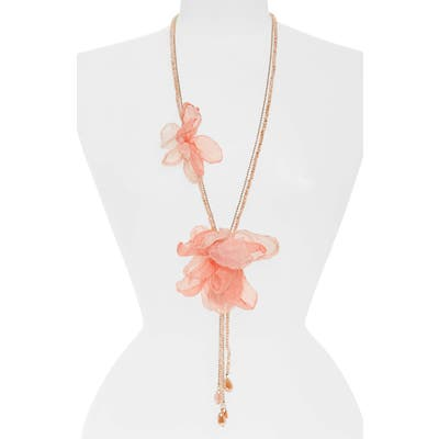 Stella + Ruby Chiffon Flower Lariat Necklace