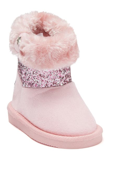 Image of bebe Glitter Panel Faux Fur Lined Winter Boot