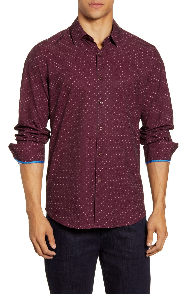 MOVE PERFORMANCE APPAREL Dot Button-Up Shirt, Main, color, BURGUNDY
