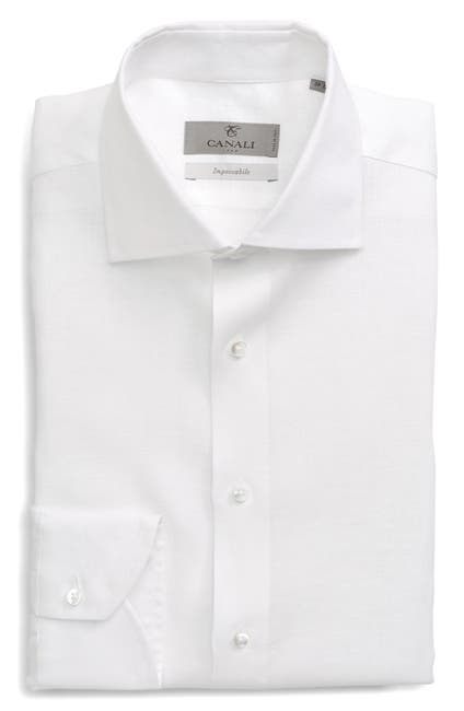 Image of Pere de Temps Trim Fit Solid Linen Dress Shirt