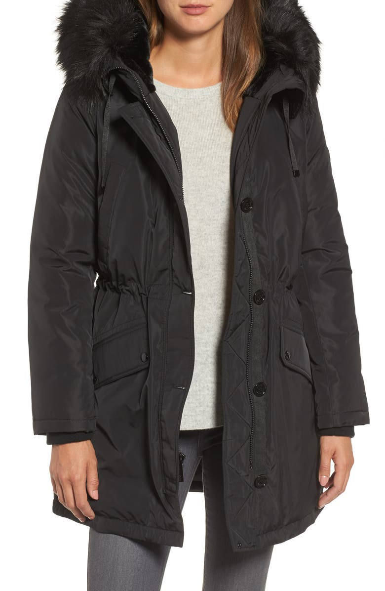MICHAEL MICHAEL KORS Waterproof Anorak with Faux Fur Hood, Main, color, 001