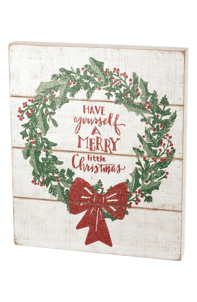 PRIMITIVES BY KATHY Have Yourself a Merry Little Christmas Slat Box Sign, Main, color, 100