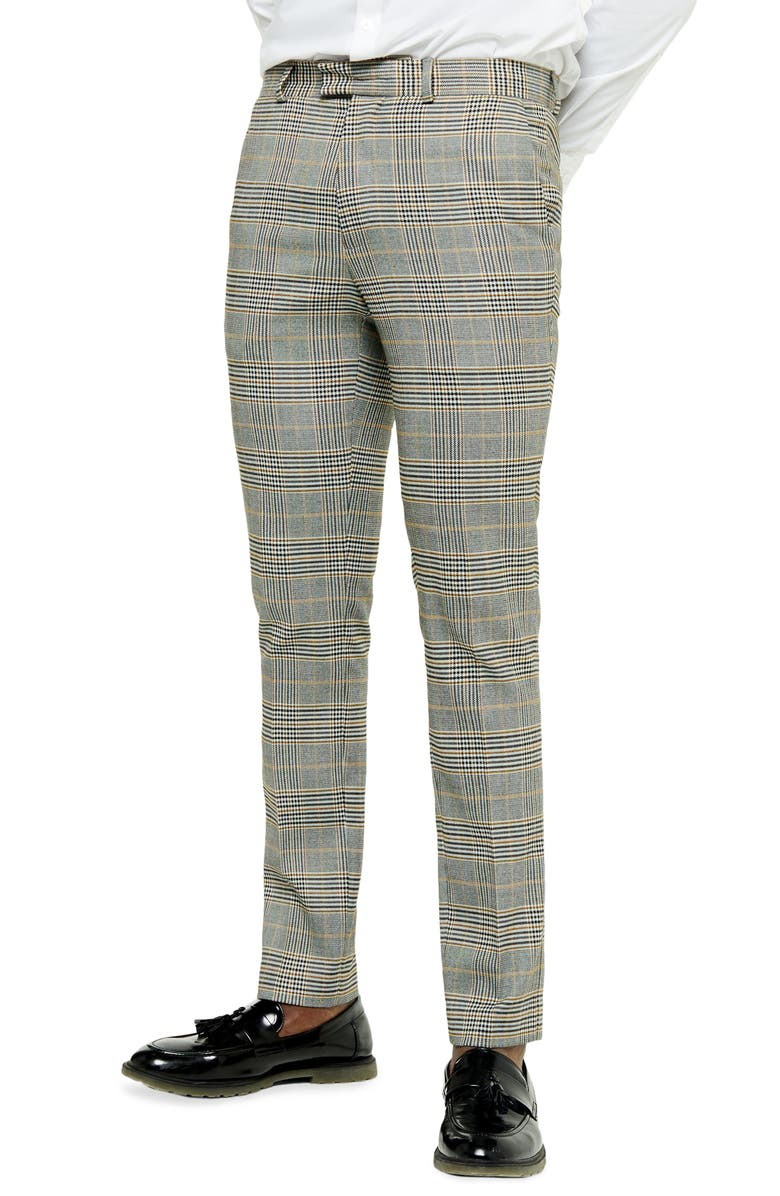 TOPMAN House Check Skinny Fit Trousers, Main, color, GREY