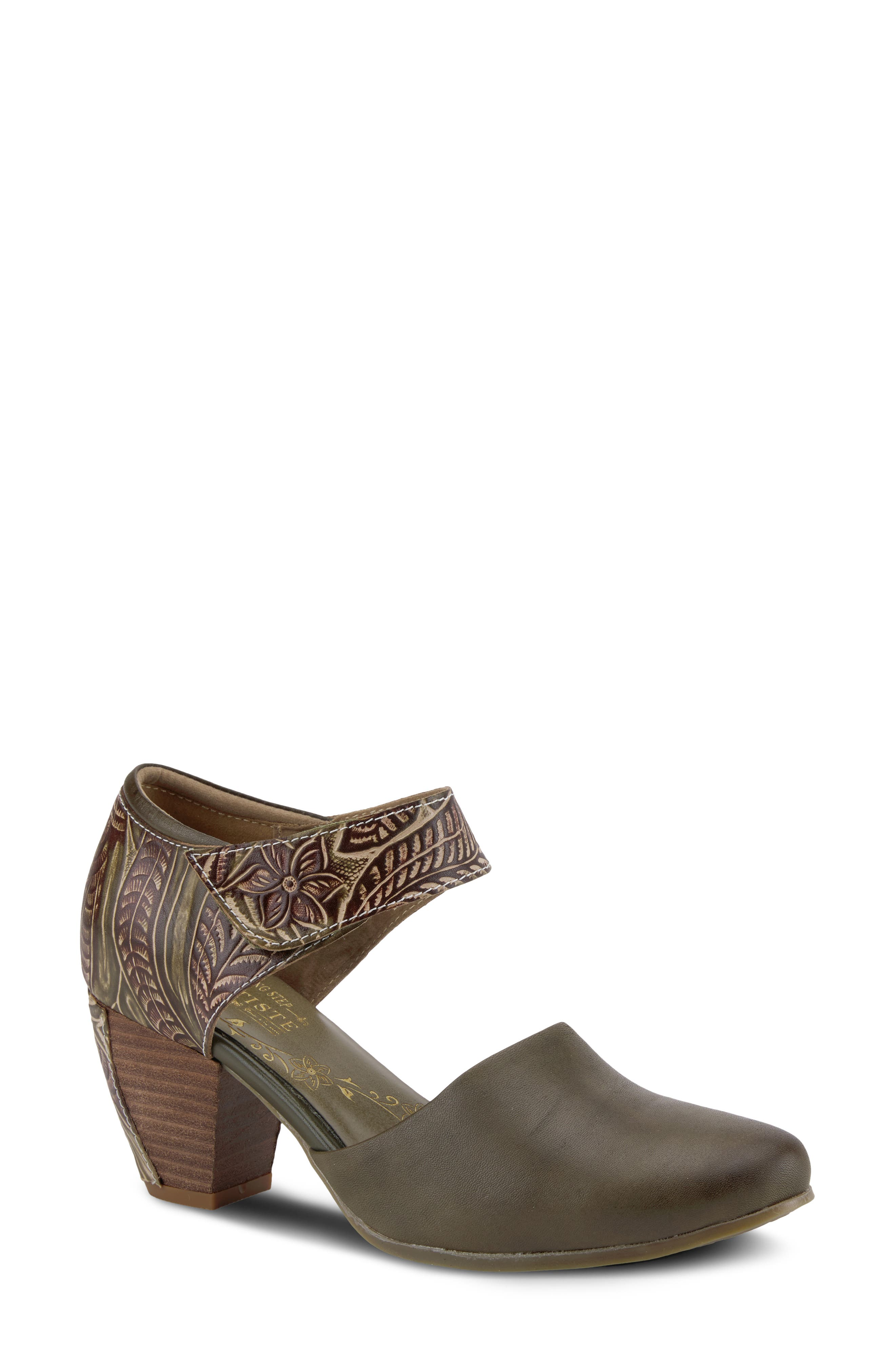 Hand-painted and hand-tooled leather distinguishes a pretty mary jane pump made with a comfortably cushioned footbed and flexible sole. Style Name:L\\\'Artiste Toolie Mary Jane Pump (Women). Style Number: 6117374. Available in stores.