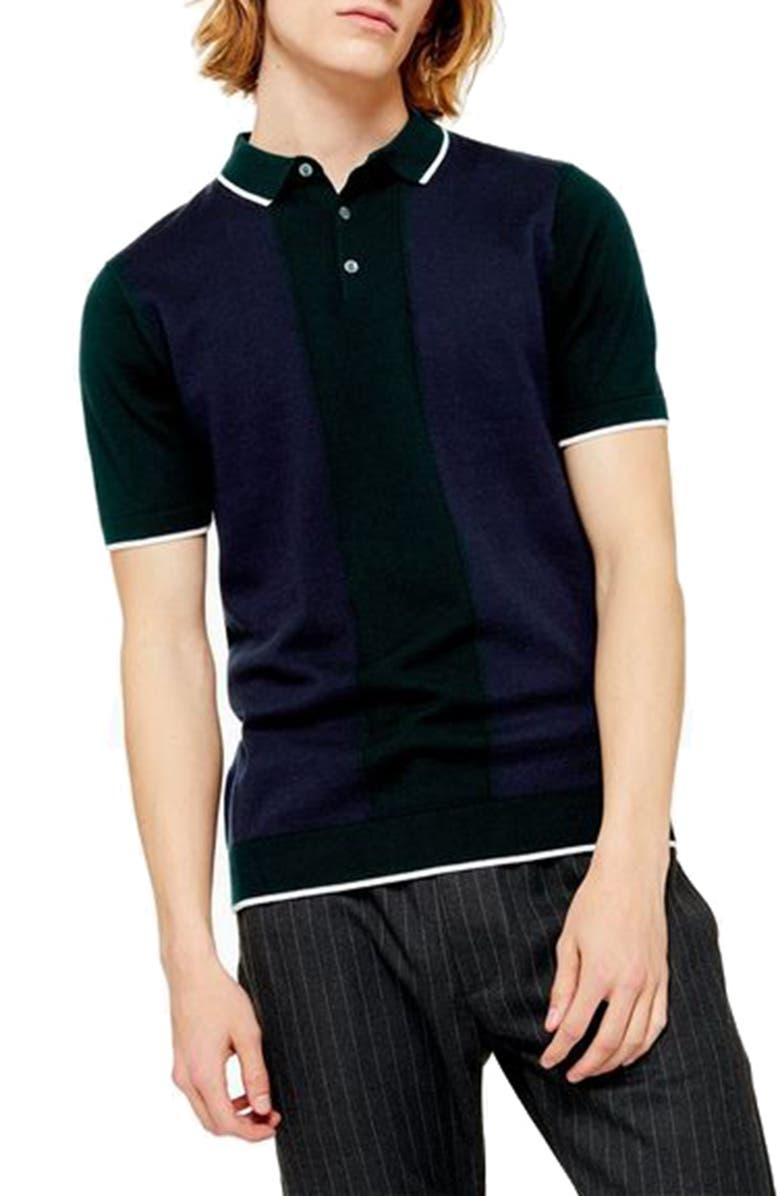TOPMAN Colorblock Sweater Polo, Main, color, GREEN MULTI
