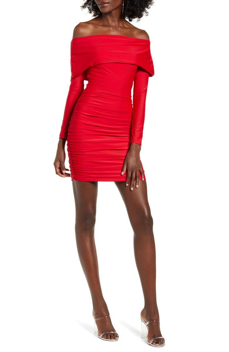TIGER MIST Move Over Off the Shoulder Long Sleeve Body-Con Dress, Main, color, 600
