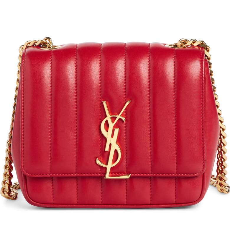 SAINT LAURENT Small Vicky Quilted Lambskin Leather Crossbody Bag, Main, color, ROUGE EROS