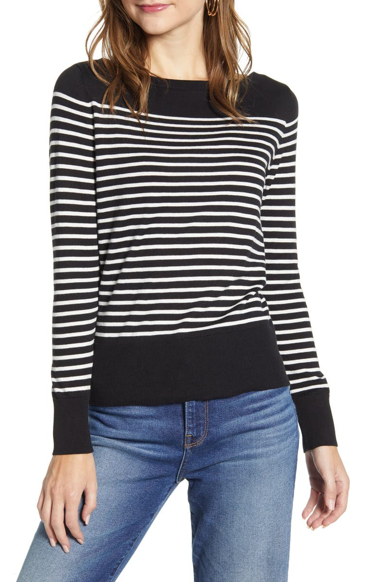HALOGEN<SUP>®</SUP> Bateau Neck Sweater, Main, color, BLACK- IVORY STRIPE