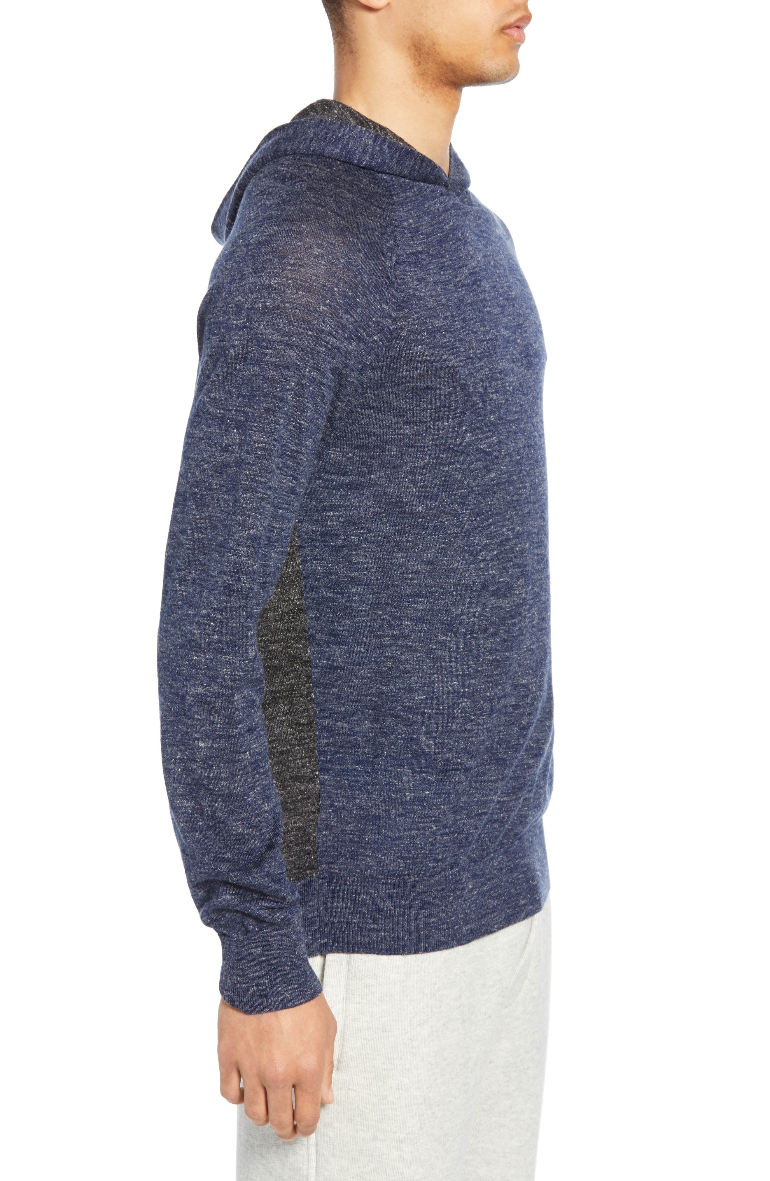 ,                             Colorblock Wool & Linen Pullover Hoodie,                             Alternate thumbnail 3, color,                             COASTAL