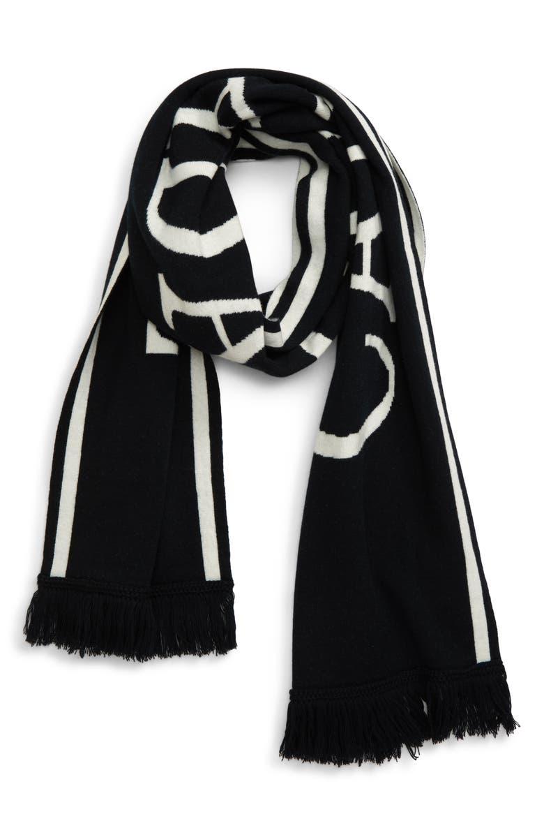 CANADA GOOSE Logo Merino Wool Scarf, Main, color, BLACK