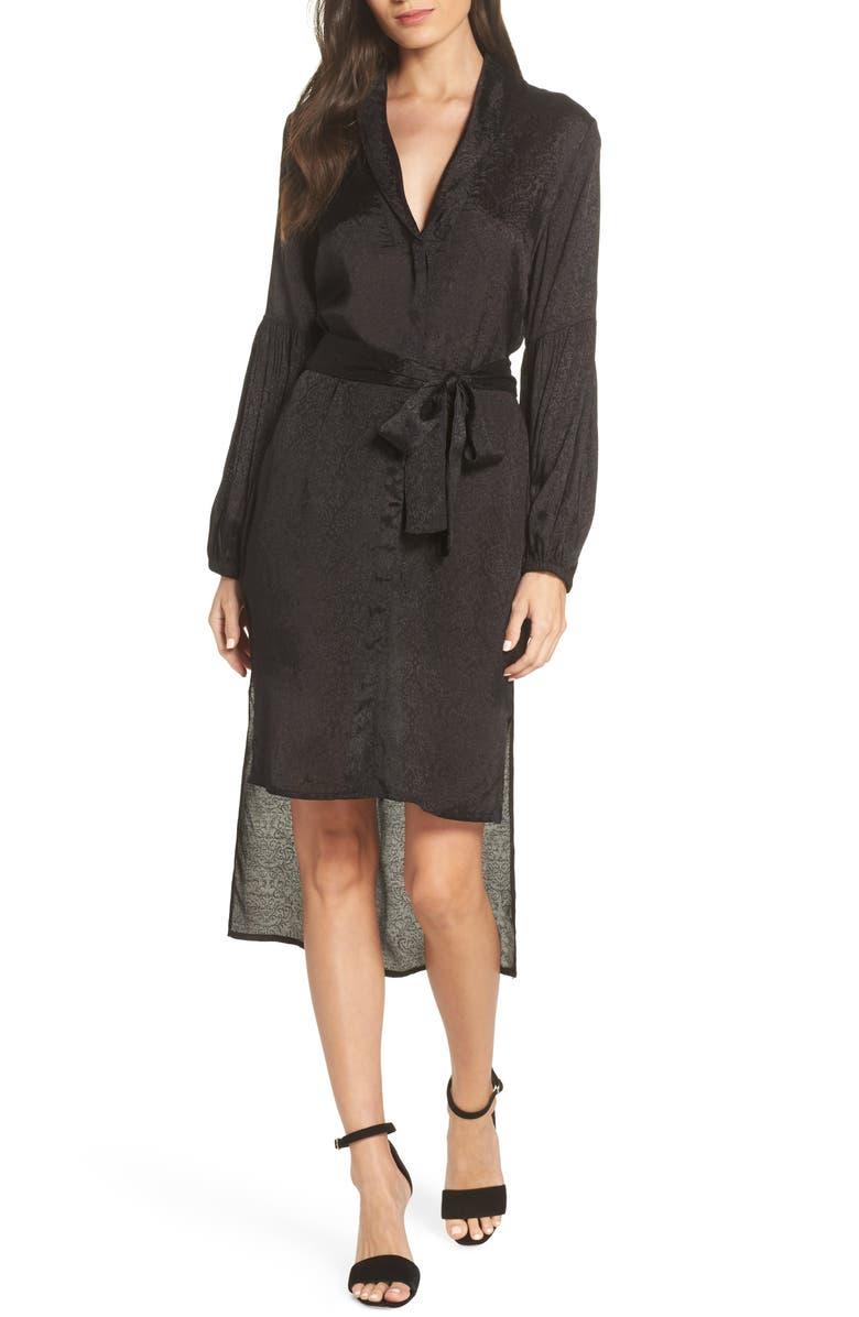 NSR Jordan High/Low Shirtdress, Main, color, BLACK