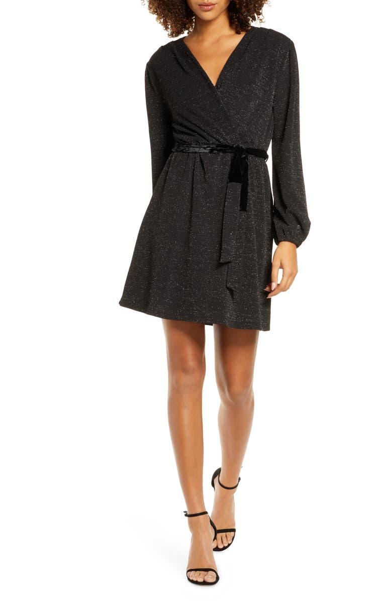 FRAICHE BY J Glitter Faux Wrap Front Long Sleeve Dress, Main, color, 001