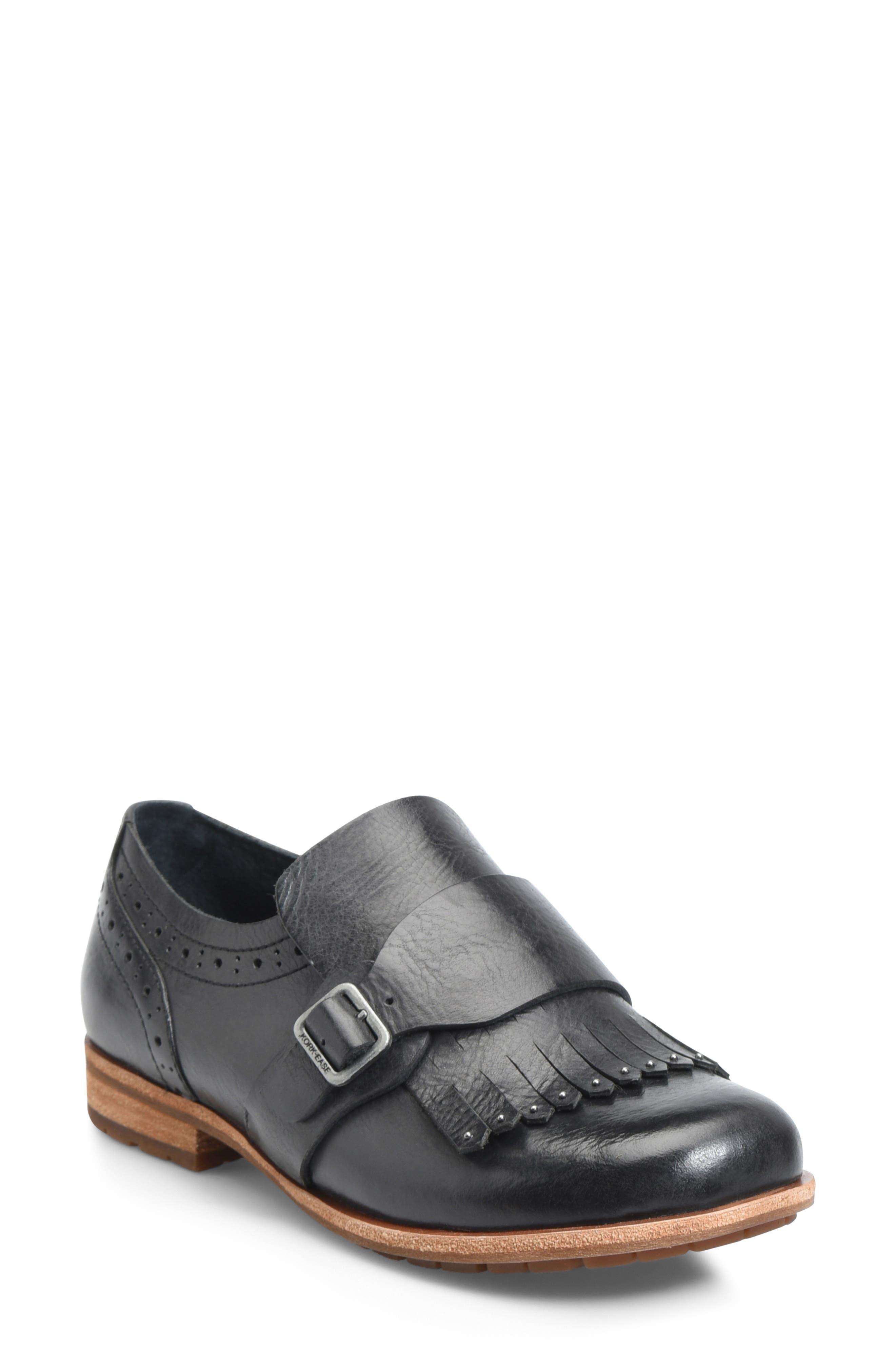 Kork-Ease Bailee Kiltie Monk Strap Shoe, Black