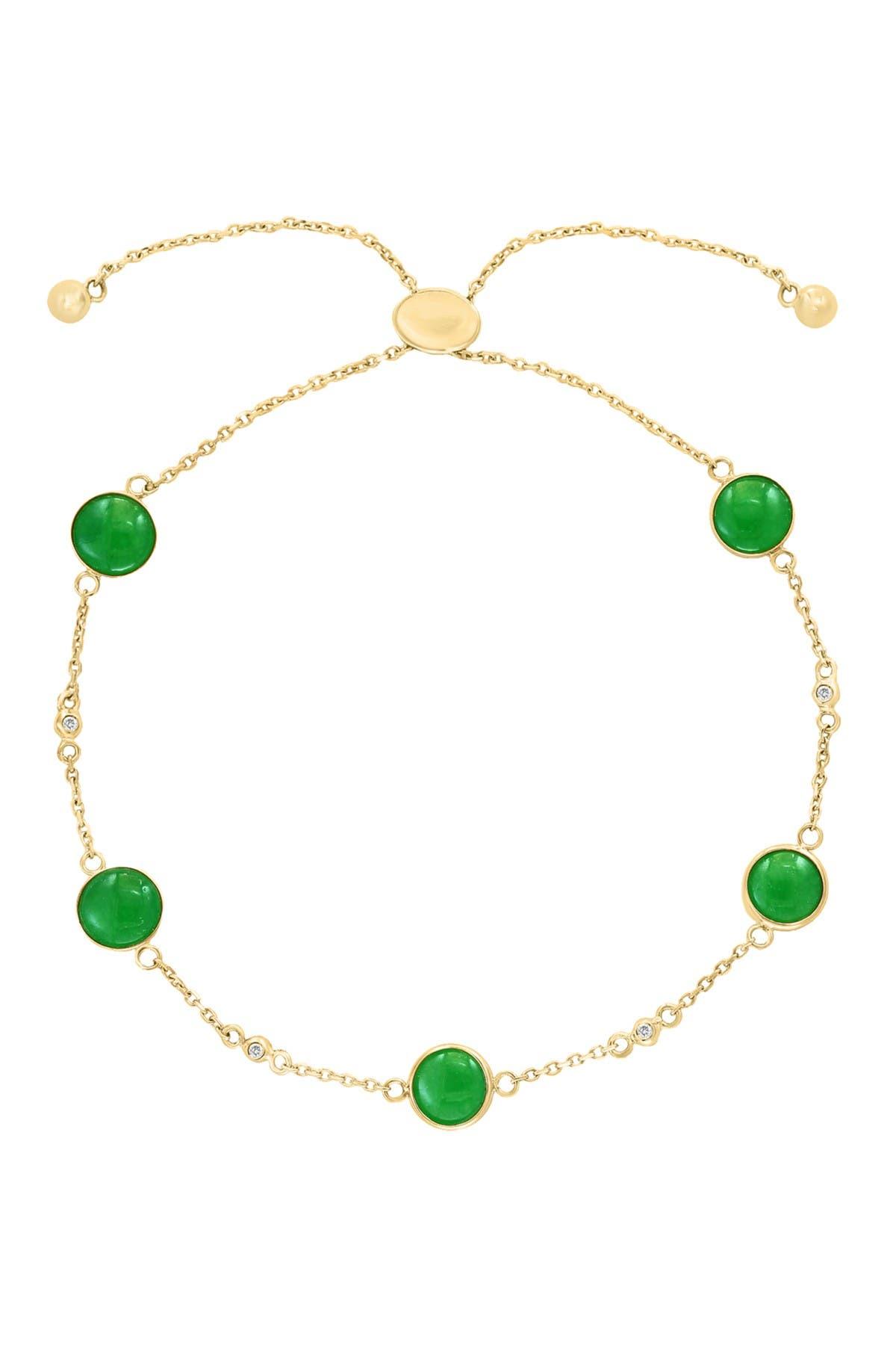 Image of Effy 14K Yellow Gold Bezel Set Green Jade & White Sapphire Station Adjustable Slide Bracelet